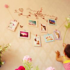 "Decoration Home Art Wall 8pcs 6"" Hanging Photo Picture Frames with Wood Clips & Rope"