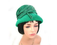Woman's Green Bucket Hat Green Satin and by AtticDustAntiques