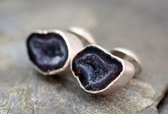 Geode Cuff Links in Sterling Silver- Custom Made- Choose Your Geodes- Reds. $190.00, via Etsy.