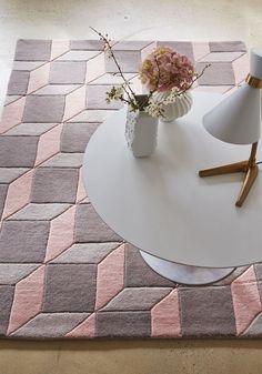 Pink, grey white living room theme Plantation Geometric Pink Grey 06 Luxury Wool Rug in various sizes