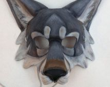 Leather Gray Wolf Mask Timber Wolf Mask Artic Wolf Mask - Bamboo Under Wear Cardboard Mask, Cardboard Sculpture, Animal Masks, Animal Heads, Halloween Cosplay, Halloween Costumes, Wolf Mask, Mask Painting, Origami Paper Art