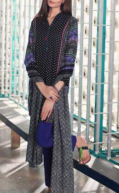 Buy Black Printed Viscose Linen Dress by Nishat 2015.
