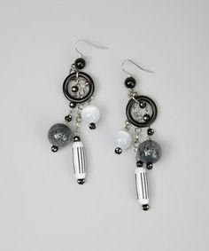 Another great find on #zulily! Black & White Beaded Dangle Earrings #zulilyfinds