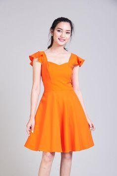 2f9880a0d7 OLIVIA - Orange Dress Orange Bridesmaid Dress Swing Dance Dress Tangerine Dress  Ruffle Sleeve Sundre