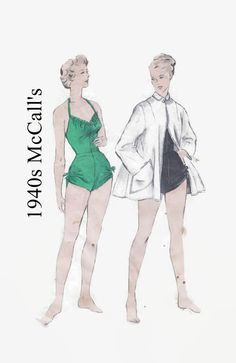 1940s Sewing Pattern - Butterick 4869 - One-Piece Bathing Suit and Beach Coat - Size 16 Bust 34 - Vintage Swimsuit & Coverup Sewing Pattern by EightMileVintageSews on Etsy