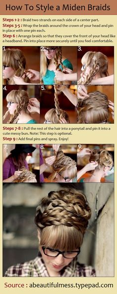 How To Style a Maiden Braids. I really like that this girls hair isn't three feet long. That makes this actually achievable for girls with average-long hair.