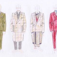 Line faced illustrations from past menswear design proposal for Hardy Amies London x Dover Street Market London project. Tailoring before Ta.lon