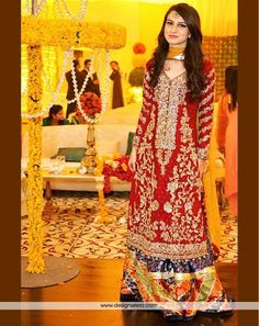 DE Magnificent Crimson Red Bridal Pakistani Lehenga