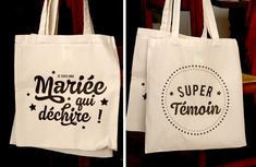 Tote Bag Super Témoins et Mariée qui déchire Groomsmen Accessories, Tods Bag, Mary I, Silhouette Portrait, Bridesmaids And Groomsmen, Team Bride, Just Married, Hippie Chic, Small Gifts