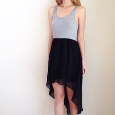 grey and black high low dress offers welcome size medium high low dress with grey tank-like bust, elastic waist, and flowy black skirt. •680088•  instagram: @xomandysue Forever 21 Dresses High Low