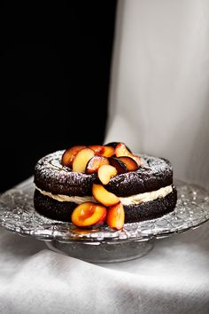 Chocolate Cake with Salted Caramel Frosting and Poached Plums | Modern Wifestyle