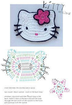 Patrón: almohadones super elegantes / Super elegant cushions with crochetCrochet Patterns For Kids Hello Kitty appliqueDIY by les frotteursHow to Crochet a Bodycon Dress/Top - Crochet IdeasThis Pin was discovered by Oks Motifs D'appliques, Crochet Motifs, Crochet Diagram, Crochet Chart, Crochet Blanket Patterns, Chat Crochet, Crochet Mignon, Crochet Baby, Free Crochet