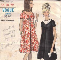 70s Aline Maternity Dress Pattern Vogue 7033 by OneMoreCupOfTea, $8.00