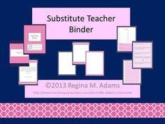Substitute Teacher Binder- Navy and Hot Pink