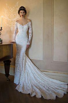 Beautiful off-shoulder lace sleeves wedding dress by Berta, 2015