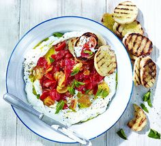 Ricotta dip with crushed tomatoes & bruschetta Good Food Aug 2013 Bbc Good Food Recipes, Cooking Recipes, Healthy Recipes, Herb Recipes, Savoury Recipes, Ricotta Dip, Tomato Bruschetta, Bruschetta Recipe, Sandwich Thins