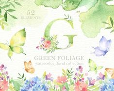 The set of high quality hand painted watercolor bunnies and tea party element images. Included teacup, teapot and pre-made bouquets. Watercolor Plants, Butterfly Watercolor, Green Watercolor, Watercolor Leaves, Watercolor Texture, Watercolour, Pencil Illustration, Graphic Illustration, Illustrations