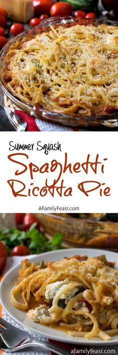 Summer Squash Spaghetti Ricotta Pie - Wonderful summertime comfort food the entire family will love! Entree Recipes, Pasta Recipes, Vegetarian Recipes, Dinner Recipes, Cooking Recipes, Healthy Recipes, Vegetarian Pizza, Noodle Recipes, Vegan Meals