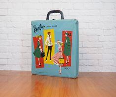 1961 Blue Vinyl Ponytail Barbie Doll Case by FireflyVintageHome on Etsy