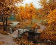 Cheap mosaic pictures, Buy Quality diamond embroidery directly from China diamond painting Suppliers: Full autumn scenery Diamond embroidery Bridges forest Diamond painting Yellow plant cross stitch Square drill Mosaic picture Fall Pictures, Pretty Pictures, Framed Pictures, Autumn Photos, Amazing Photos, Nature Pictures, Beautiful World, Beautiful Places, Beautiful Scenery