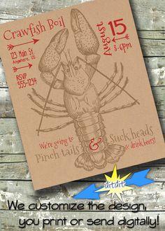 Crawfish Boil Crab Party Poster Flyer EVENT Digital Invite Invitation by… Shrimp Boil Party, Crab Party, Crawfish Party, Seafood Party, Seafood Shop, Invitation Flyer, Digital Invitations, Party Invitations, Invite