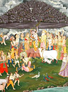 The Gopas Help Krishna Lift The Mount Goverdhana by Using Their Sticks as Props, Large Water Color Painting On Cotton Fabric Krishna Lila, Radha Krishna Love, Krishna Radha, Hanuman, Pichwai Paintings, Indian Art Paintings, Mughal Paintings, Lord Krishna Images, Radha Krishna Pictures