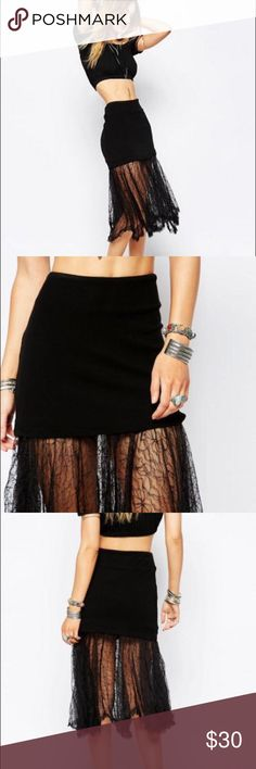 """NWT Free People Two for One [Knit & Lace] Skirt Free People two for one [knit & lace] skirt.   Stretchy knit skirt with lace flow on bottom. Asymmetrical and bohemian style.  Brand new with tags.  Length from top of knit skirt to bottom of lace: approximately 29"""" Free People Skirts Midi"""