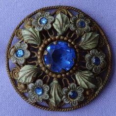 Vintage CZECH Enamel Blue Stone Pierced Metal Floral Brooch