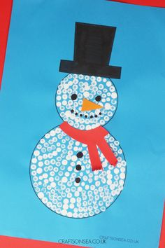 Cotton Bud Painted Snowman Craft (FREE Template) - Crafts on Sea Diy Crafts For Kids Easy, Winter Crafts For Kids, Toddler Crafts, Preschool Crafts, Snowman Crafts, Christmas Crafts, Realistic Face Drawing, Painted Snowman, Chalk Pens
