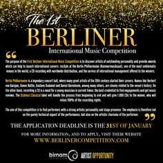 *ARTIST OPPORTUNITY*  The first Berliner International Music Competition is open for applications now. Deadline is 31/01/17. http://www.berlinercompetition.com/home