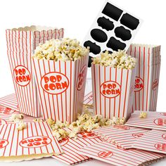 With its classic red-and-white striped design, the Chefast Popcorn Box Pack will make you nostalgic right away. This set includes two packs, each containing 12 folded popcorn boxes in two convenient sizes: small and medium.