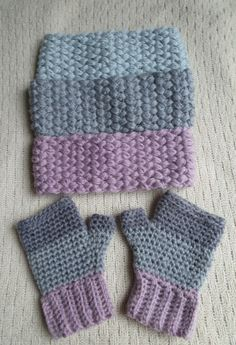 A gorgeous headband featuring a puff bean stitch. This pattern uses a size I hook and medium worsted weight yarn. Looks very cute paired with my 3 shade fingerless glove pattern. Crochet Fingerless Gloves Free Pattern, Crochet Mitts, Crochet Wrist Warmers, Mittens Pattern, Fingerless Mittens, Crochet Slippers, Crochet Granny, Free Crochet, Crochet Crafts