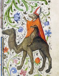 Ca. 1440-1450. Boar riding a camel.