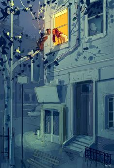 I was just in the neighborhood. by PascalCampion on DeviantArt The Balcony Scene, Pascal Campion, Art Thou, Couple Art, American Artists, Art Sketches, Illustrations Posters, Amazing Art, Illustrators