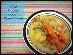 Easy 2 Hour Coconut Minestrone - Healthy and delicious = My favorite combo :)  #paleo #paleolifestyle #healthyeating