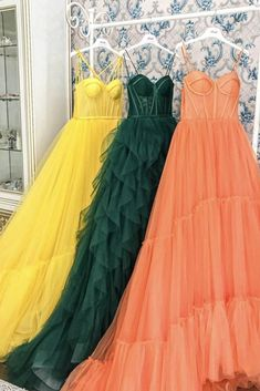 Yellow Long Tulle Prom Dresses Spaghetti Straps Sweetheart Court Train Formal Evening Party Dress Cute Prom Dresses, Tulle Prom Dress, Party Dress, Formal Dresses, Spaghetti Strap Dresses, Spaghetti Straps, Evening Party, Evening Gowns, Color Card