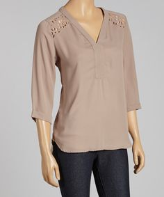 Love this Taupe Eyelet Cutout Hi-Low Top by Destiny Made in the USA on #zulily! #zulilyfinds