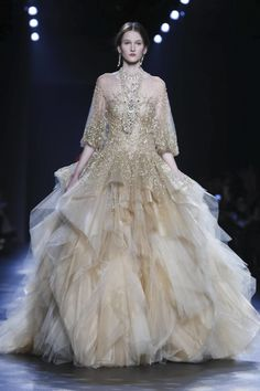 Marchesa Fall Winter 2016...Beautiful, more interesting details to recreate. Adjust the color & details to fit the wedding theme. Work within your budget to achieve that  bridal look.