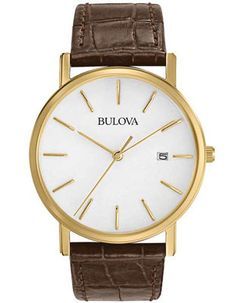5769ca0b366 Bulova Men s Essential Strap Watch - Gold-Tone - White Dial - Brown  Leather. Procurando NemoRelógios MasculinosBelezaRelógios ...