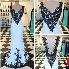 2016 V Neck Mermaid Prom Dresses With Black Appliques Sexy Backless Evening Dresses Sleeveless Prom Gowns Party Dress