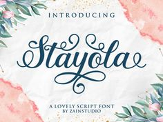 Stayola is a sweet, soft hand-lettered handwritten font. The playful rounded characters make it the perfect font for creating stunning. Handwritten Fonts, Calligraphy Fonts, Script Fonts, All Fonts, Modern Calligraphy, Monogram Fonts, Monogram Letters, Cute Fonts, Font Setting