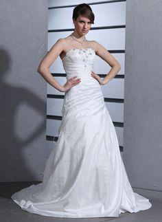 A-Line/Princess Strapless Court Train Taffeta Wedding Dress With Ruffle Lace Beading (002000484) http://www.dressdepot.com/A-Line-Princess-Strapless-Court-Train-Taffeta-Wedding-Dress-With-Ruffle-Lace-Beading-002000484-g484 Wedding Dress Wedding Dresses #WeddingDress #WeddingDresses