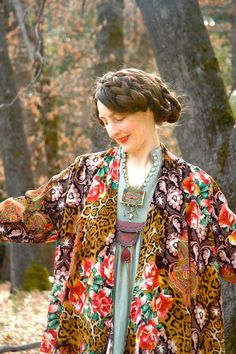 Boho Jacket Kimono Style Layering Jacket Leopard Print Floral by AstralBoutique, $38.00