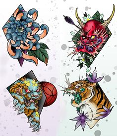 Also here's some of my new flash available @holdfast_tattoo #perthtattoo #perth #ink #tattoos #tattoo #flash #tattooflash #digital #digitalart #photoshop #wacom @wacomtattooteam #diamonds #oni #foodog #tiger #chrysanthemum