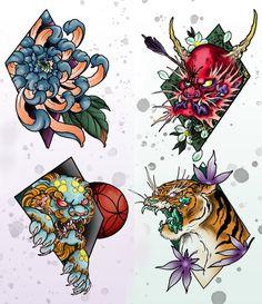 Also here's  some of my new flash available @holdfast_tattoo  #perthtattoo #perth #ink #tattoos #tattoo #flash #tattooflash #digital #digitalart #photoshop #wacom @wacomtattooteam #diamonds #oni #foodog #tiger #chrysanthemum