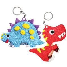 Sculpt and display two adorable Foam Clay dinosaur keychains! New and popular Foam Clay deco activity kit provides hours of fun while cultivating motor skills and patience. Clay Crafts For Kids, Arts And Crafts, Dinosaur Crafts, Diy Keychain, 3d Shapes, Gift Bags, Activities For Kids, Christmas Ornaments, Gifts
