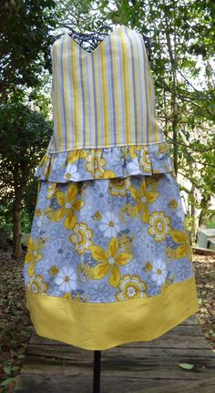 Little girls yellow and gray floral dress by EmelineDesign on Etsy