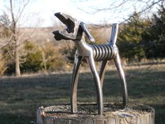 SOLD/REQUEST ORDER/////////Plier Dog Metal Sculpture Klein Plier Dog Yard Art Garden Art Metal Animal Sculpture. $52.75, via Etsy.
