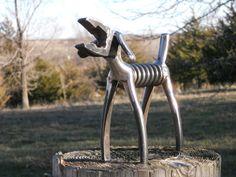 SOLD/REQUEST ORDER/////////Plier Dog Metal Sculpture Klein Plier Dog Yard Art Garden Art Metal Animal Sculpture. $52.75, via Etsy.