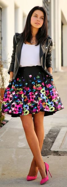 Milly Graffiti Printed Pleated Pouf Skirt by Vivaluxury